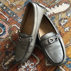 Silver Cole Haan loafers